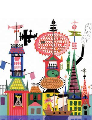 Разноцветное фотопанно от дизайнера художника Стига Линдберга, с изображением города залитого водой, купить фотопанно под свои размеры, Scandinavian Designers Mini, Детские фотообои, Новинки, Фотообои, Хиты продаж