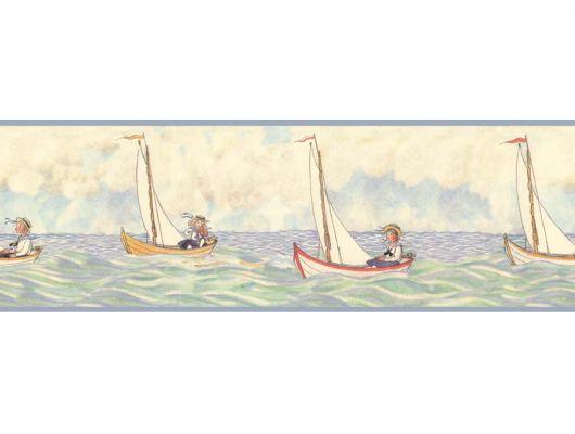 Бордюр для стен Segelfärden с детским рисунком на морскую тему, Scandinavian Designers Mini, Бордюры для обоев, Детские обои, Обои для квартиры