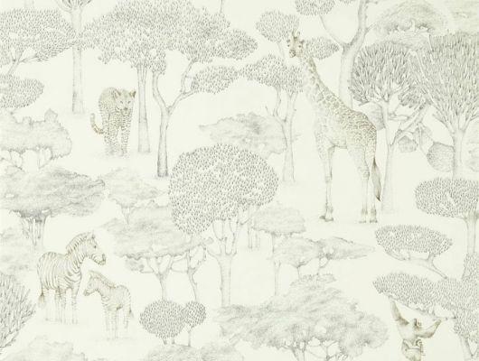Обои из Великобритании Shamwari арт. 112243, из коллекции Mirador, Harlequin с изящным серебристым изображением животных в саванне в ассортименте салонов ОДизайн., Mirador, Обои для гостиной, Обои для кабинета