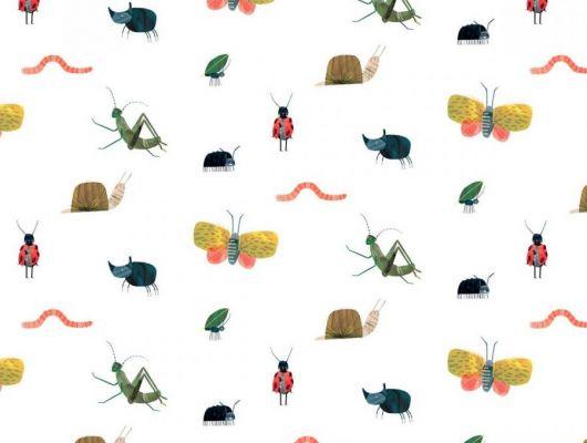 Купить обои для детской Garden Friends арт. 112635 от Harlequin с забавными разноцветными насекомыми на белом фоне в салонах Москвы., Book of Little Treasures, Обои для кухни