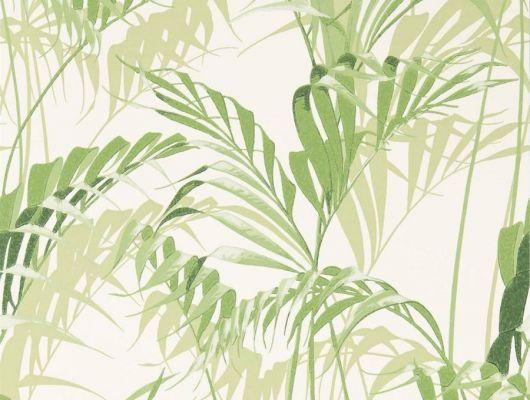 Светлые обои с растительным рисунком в зеленых оттенках арт. 216643 от Sanderson из коллекции The Glasshouse для ремонта дачи, The Glasshouse, Обои для гостиной, Обои для кухни, Обои для спальни