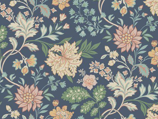 Обои с ярким цветочным рисунком на синем фоне, Beautiful Traditions, Новинки, Обои для квартиры, Обои для прихожей