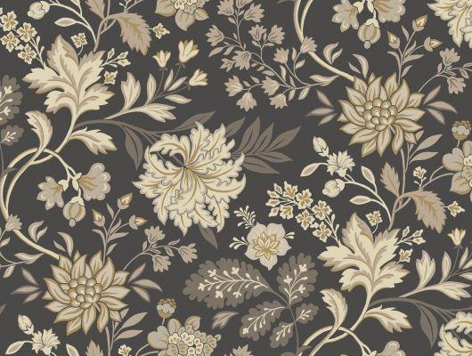 Флизелиновые обои для кухни с крупным цветочным рисунком в винтажных оттенках на темном фоне., Beautiful Traditions, Обои для кухни, Флизелиновые обои, Хиты продаж