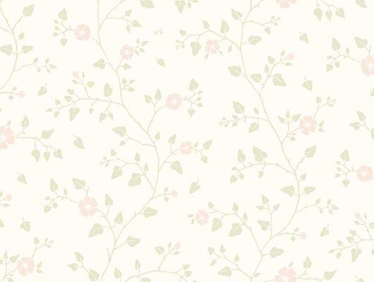 Обои в коридор с нежным цветочным мотивом на белом фоне, Beautiful Traditions, Обои для квартиры, Обои для прихожей