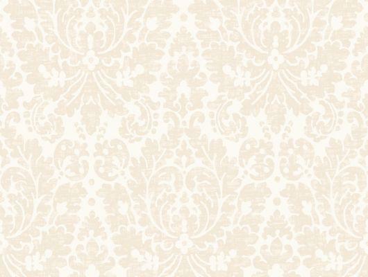 Обои с дизайнерским рисунком в виде дамасков бежевого цвета на белом фоне, Beautiful Traditions, Дизайнерские обои, Обои для квартиры