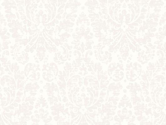 Стильные обои с рисунком в виде светлых переливающихся дамасков на белом фоне
