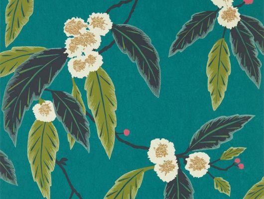 Купить обои в спальню арт. 112132  из коллекции Salinas от Harlequin, Великобритания с рисунком листьев и цветов на темно-бирюзовом фоне в салоне обоев Одизайн в Москве, Salinas, Обои для гостиной, Обои для спальни