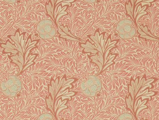 Купить бумажные обои для гостиной арт. 216688 из коллекции Melsetter от Morris, Великобритания с растительным рисунком из листьев и фруктов красно-розового цвета в интернет-магазине в Москве, Melsetter, Бумажные обои, Обои для гостиной, Обои для спальни