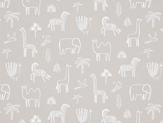 Купить обои Funky Jungle арт. 112629 от Harlequin с наивным изображением силуэтов африканских животных на сером фоне в салонах О-Дизайн., Book of Little Treasures