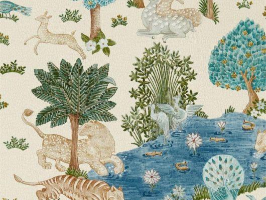 Подобрать дизайнерские обои Pamir Garden арт. 216766 из коллекции Caspian от Sanderson, с фантазийными узорами, стилизованными деревьями ,тиграми и антилопами, для ремонта в загородном доме., Caspian, Обои для гостиной, Обои для спальни