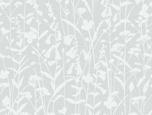Белый цветочный мотив на сером фоне на обоях для стен от BorasTapeter, Decorama Easy Up 2016, Архив, Обои для квартиры, Обои для стен, Распродажа