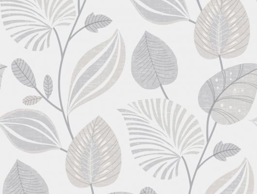 Квартирные обои с узором из серых листьев на белом фоне, Decorama Easy Up 2016, Архив, Обои для квартиры, Распродажа
