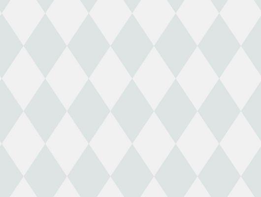 Универсальные обои для стен с ромбиками приглушенно-голубого цвета на белом фоне, Decorama Easy Up 2016, Архив, Обои для квартиры, Распродажа