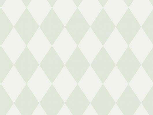 Детские обои с геометрическим рисунком состоящим из зеленых ромбиков на белом фоне, Decorama Easy Up 2016, Детские обои, Новинки, Хиты продаж