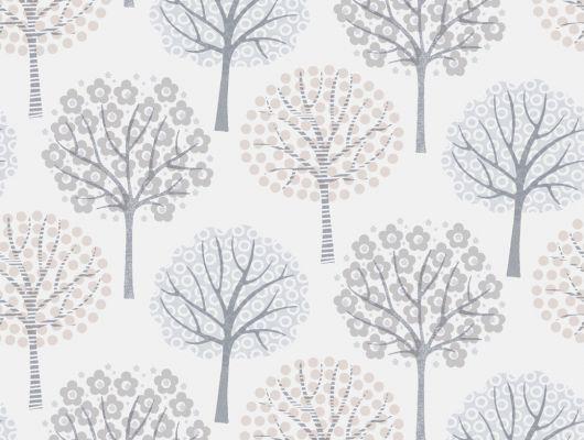 Флизелиновые обои с серыми деревьями на белом фоне, Decorama Easy Up 2016, Флизелиновые обои