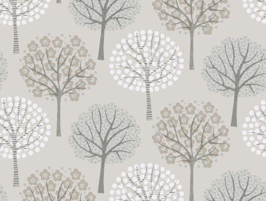 Моющиеся обои с орнаментом из деревьев на сером фоне, Decorama Easy Up 2016, Архив, Моющиеся обои, Обои для квартиры, Обои для кухни, Распродажа