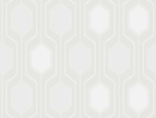 Обои в гостиную с нейтральным белым шестиугольным узором