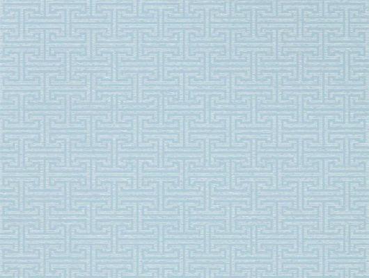 Заказать обои в гостиную арт. 312934 дизайн Ormonde Key из коллекции Folio от Zoffany, Великобритания с геометрическим рисунком серо-голубого цвета на сером фоне в интернет-магазине, онлайн оплата, доступные цены, Folio, Обои для гостиной, Обои для спальни