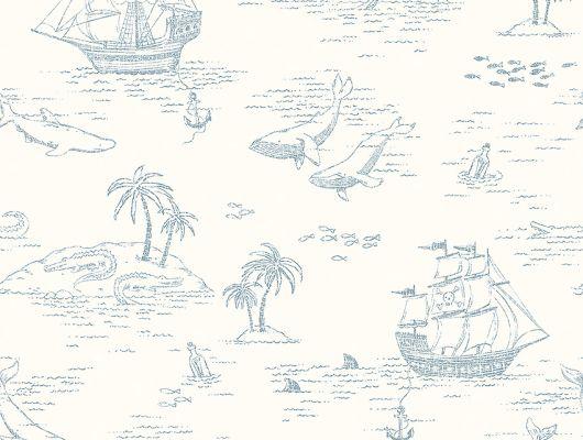 Обои  из Швеции коллекция Newbie, с рисунком под названием  Treasure Island на которых детально прорисованы экзотические острова, пиратские корабли, киты и другие обитатели моря, идеально подойдут для спален детей. Шведские обои купить, салон обоев ОДизайн, в интернет-магазине, бесплатная доставка, оплата онлайн, большой ассортимент, Newbie Wallpaper, Детские обои, Новинки, Обои для кабинета
