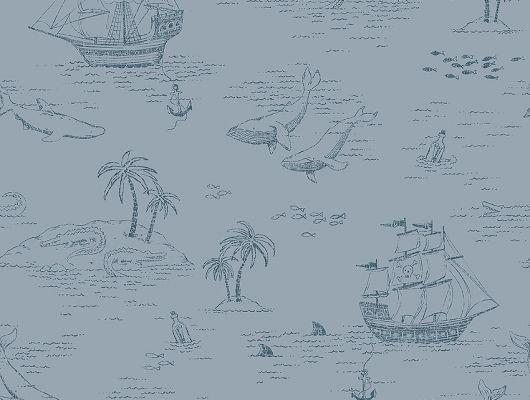 Обои из Швеции коллекция Newbie, с рисунком под названием  Treasure Island на которых детально прорисованы экзотические острова, пиратские корабли, киты и другие обитатели моря, идеально подойдут для спален детей. Шведские обои купить, салон обоев ОДизайн, в интернет-магазине, бесплатная доставка, оплата онлайн, большой ассортимент, Newbie Wallpaper, Детские обои, Обои для гостиной, Хиты продаж