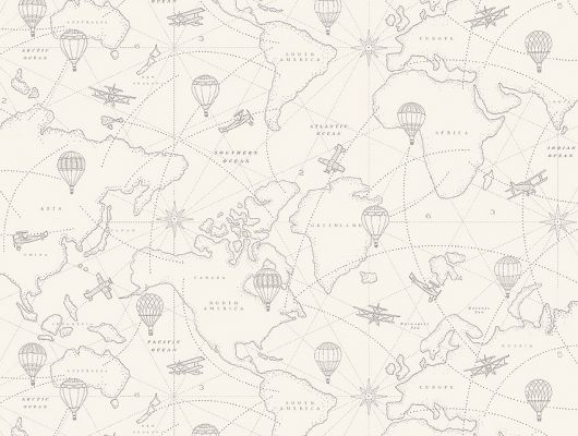 Обои  из Швеции коллекция Newbie, с рисунком под названием  Adventures выполнен на бежевом фоне на которых детально прорисована карта приключений с островами, воздушными шарами, самолетами , идеально подойдут для спален детей. Шведские обои купить, салон обоев ОДизайн, в интернет-магазине, бесплатная доставка, оплата онлайн, большой ассортимент, Newbie Wallpaper, Детские обои, Хиты продаж