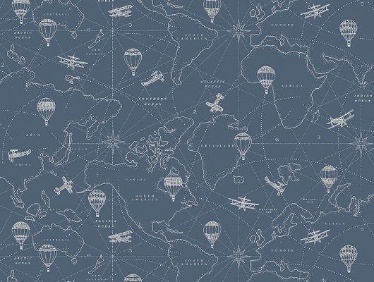 Обои  из Швеции коллекция Newbie, с рисунком под названием  Adventures выполнен на темно-синем фоне на которых детально прорисована карта приключений с островами, воздушными шарами, самолетами , идеально подойдут для спален детей. Шведские обои купить, салон обоев ОДизайн, в интернет-магазине, бесплатная доставка, оплата онлайн, большой ассортимент, Newbie Wallpaper, Детские обои, Новинки