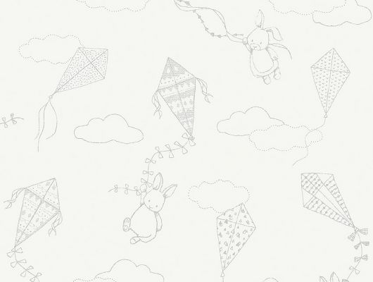 Обои  из Швеции коллекция Newbie, с рисунком под названием  Up&Away выполнен на  белом фоне на которых изображен заяц поднимающийся на воздушном змее среди облаков , идеально подойдут для спален детей. Большой ассортимент Шведские обои купить, салон обоев ОДизайн, в интернет-магазине, бесплатная доставка, оплата онлайн., Newbie Wallpaper, Детские обои