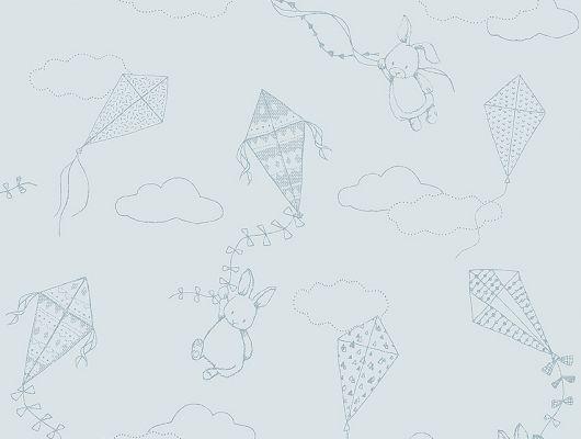 Обои  из Швеции коллекция Newbie, с рисунком под названием  Up&Away выполнен на бледно-голубом фоне зайчика поднимающегося на воздушном змее среди облаков , идеально подойдут для спален детей. Большой ассортимент Шведские обои купить, салон обоев ОДизайн, в интернет-магазине, бесплатная доставка, оплата онлайн., Newbie Wallpaper, Детские обои