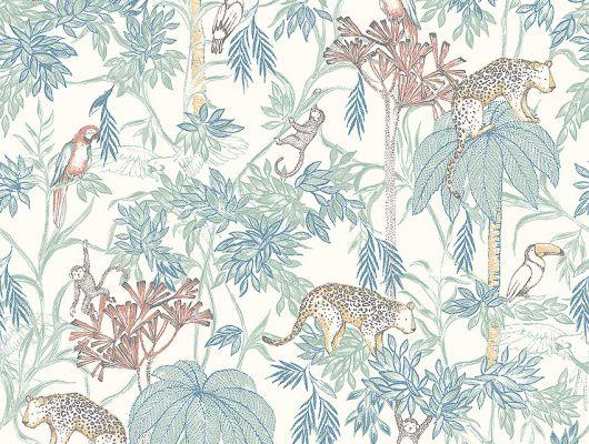 Обои  из Швеции коллекция Newbie, с рисунком под названием  Wild Jungle с изображением на белом фоне разноцветных диких джунглей , маленьких обезьян , попугаев , леопарда .идеально подойдут для спален детей. Большой ассортимент Шведские обои купить, салон обоев ОДизайн, в интернет-магазине, бесплатная доставка, оплата онлайн., Newbie Wallpaper, Детские обои