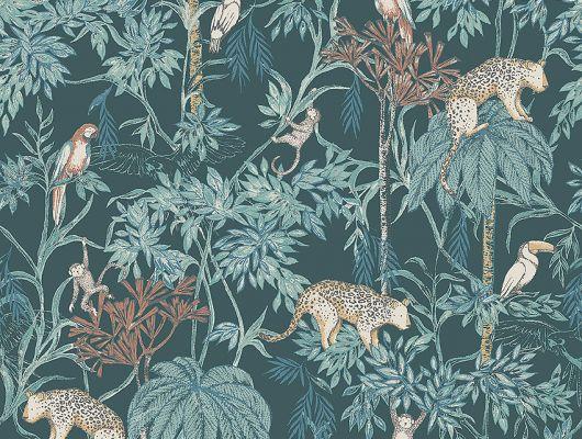 Обои  из Швеции коллекция Newbie, с рисунком под названием  Wild Jungle с изображением на темно-зеленом фоне разноцветных диких джунглей , маленьких обезьян , попугаев , леопарда .идеально подойдут для спален детей. Большой ассортимент Шведские обои купить, салон обоев ОДизайн, в интернет-магазине, бесплатная доставка, оплата онлайн., Newbie Wallpaper, Детские обои
