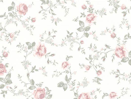 Обои  из Швеции коллекция Newbie, с рисунком под названием  Rose Garden с изображением на белом фоне розовых цветов идеально подойдут для спален и детских. Большой ассортимент Шведские обои купить, салон обоев ОДизайн, в интернет-магазине, бесплатная доставка, оплата онлайн., Newbie Wallpaper, Детские обои, Обои для спальни
