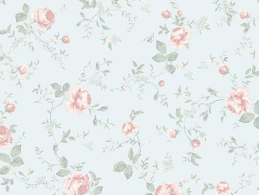 Обои  из Швеции коллекция Newbie, с рисунком под названием  Rose Garden с изображением на голубом фоне розовых цветов идеально подойдут для спален и детских. Большой ассортимент Шведские обои купить, салон обоев ОДизайн, в интернет-магазине, бесплатная доставка, оплата онлайн., Newbie Wallpaper, Детские обои, Обои для спальни, Хиты продаж