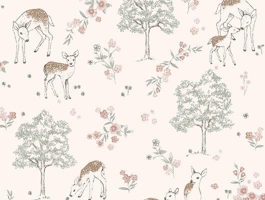 Флизелиновые обои из Швеции коллекция Newbie от Borastapeter, с рисунком под названием Deer Love. Семья оленей в лесу на светло-розовом фоне. Обои для детской. Купить стильные Шведские обои в интернет-магазине, бесплатная доставка,  большой ассортимент., Newbie Wallpaper, Детские обои