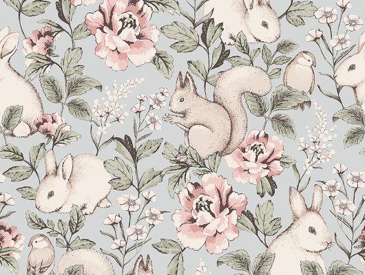 Флизелиновые обои из Швеции коллекция Newbie от Borastapeter, с рисунком под названием Magic Forest – Волшебный лес. Крупно изображены цветы, белки и кролики на голубом фоне. Обои для детской. Бесплатная доставка, оплата онлайн, Шведские обои в интернет-магазине, большой выбор, Newbie Wallpaper, Детские обои