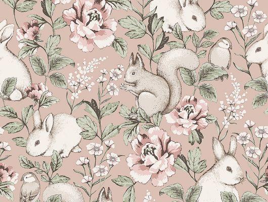 Флизелиновые обои из Швеции коллекция Newbie от Borastapeter, с рисунком под названием Magic Forest – Волшебный лес. Крупно изображены цветы, белки и кролики на розовом фоне. Обои для детской. Бесплатная доставка, оплата онлайн, Шведские обои в интернет-магазине, большой выбор, Newbie Wallpaper, Детские обои, Дизайнерские обои, Новинки
