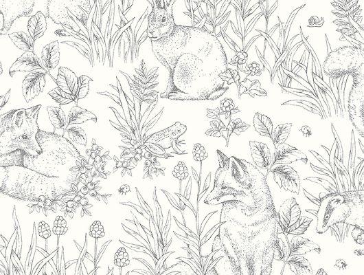 Флизелиновые обои из Швеции коллекция Newbie от Borastapeter, с рисунком под названием Forest Friends – Лесные друзья. На обоях изображены обитатели леса и растения на светлом фоне. Обои для детской. Купить обои в интернет-магазине, салон обоев ОДизайн, бесплатная доставка, оплата онлайн, Newbie Wallpaper, Детские обои, Хиты продаж