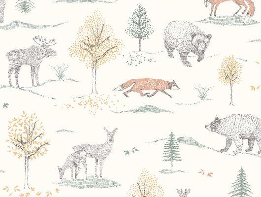 Флизелиновые обои из Швеции коллекция Newbie от Borastapeter, с рисунком под названием Up North – На севере. На обоях изображены обитатели леса и деревья. Обои для детской. Бесплатная доставка, купить Шведские обои, оплата онлайн, Newbie Wallpaper, Детские обои, Дизайнерские обои, Новинки