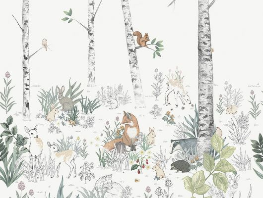 Флизелиновые фотообои из Швеции коллекция Newbie от Borastapeter, с рисунком под названием Magic Forest Mural – Магический лес. Лесные деревья и животные сошедшие со страницы детской раскраски станут идеальным фотопанно для детской. Оплата онлайн, купить обои, большой выбор, бесплатная доставка, Newbie Wallpaper, Детские обои, Детские фотообои, Дизайнерские обои, Новинки, Фотообои