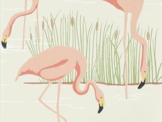 Выбрать английские обои в столовую арт. 112158 дизайн Salinas из коллекции Salinas от Harlequin, Великобритания с изображением фламинго розового цвета на серо-бежевом фоне магазине обоев в Москве, недорого, быстрая доставка, Salinas, Обои для гостиной, Обои для спальни