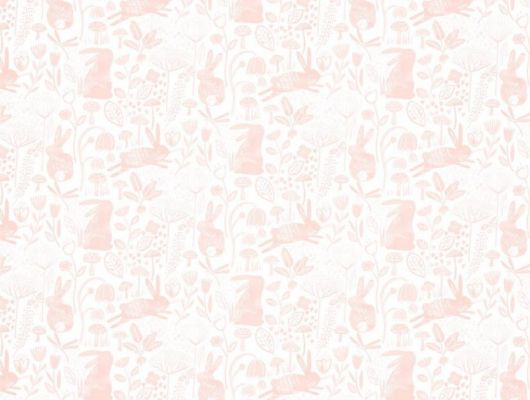 Купить обои для детской Into The Meadow арт. 112632 от Harlequin с забавным изображением кроликов среди трав и цветов в бело-розовой гамме в салонах Москвы., Book of Little Treasures