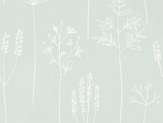 Заказать фирменные обои в коридор арт. 112020 дизайн Stipa из коллекции Zanzibar от Scion, Великобритания с принтом в виде абстрактных растений белого цвета на серо-зеленом фоне в минималистичном стиле в интернет-магазине Odesign, онлайн оплата, Zanzibar, Обои для гостиной, Обои для спальни