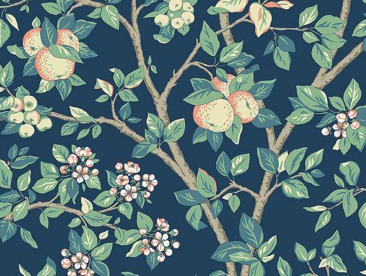 Обои  из Швеции коллекция Falsterbo lll, с рисунком под названием Ingrid Marie Ингрид Мари  изображены цветы и плоды яблони. Обои для спальни, для гостиной . Шведские обои купить,  салон обоев ОДизайн, в интернет-магазине, бесплатная доставка,  большой ассортимент, Falsterbo III, Детские обои, Обои для гостиной, Обои для кабинета, Обои для спальни