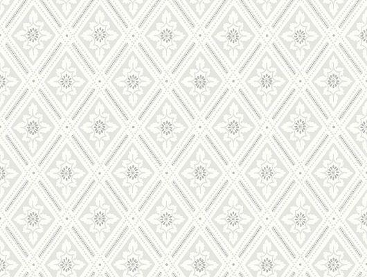 Обои из Швеции коллекция Falsterbo lll от Borastapeter. Рисунок под названием Ester. Винтажный рисунок, ромбовидный узор белого цвета на сером фоне. Обои для спальни, для кабинета, для гостиной. Купить обои,  интернет-магазин, онлайн оплата, бесплатная доставка, большой ассортимент, Falsterbo III, Обои для гостиной, Обои для кабинета, Обои для кухни