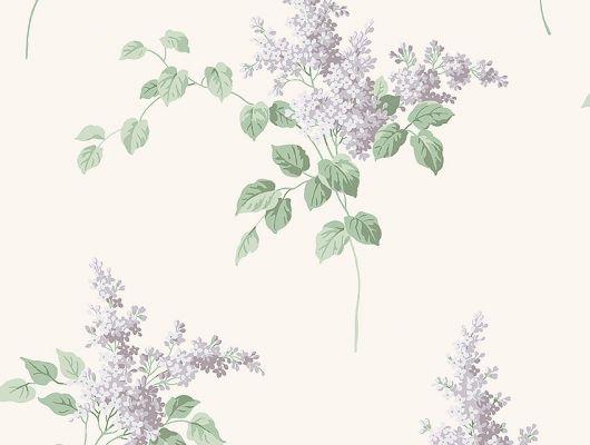 Обои из Швеции коллекция Falsterbo lll от Borastapeter. Рисунок под названием Lilacs – Сирень с фиолетовыми цветами на зеленой ветке на светлом фоне. Обои для кухни, для спальни. Купить, заказать обои в интернет-магазине, онлайн оплата, бесплатная доставка., Falsterbo III, Обои для гостиной, Обои для кухни, Обои для спальни