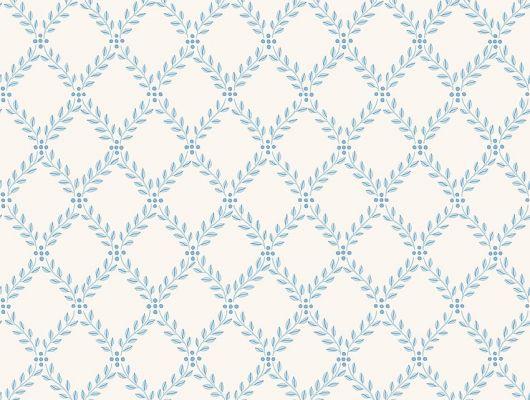 Обои из Швеции коллекция Falsterbo lll от Borastapeter. Рисунок под названием Trellis Leaves вьющийся растительный рисунок голубого цвета на белом фоне. Обои для кухни, для спальни, для коридора. Ассортимент обоев в Москве, доставка обоев на дом., Falsterbo III, Обои для гостиной, Обои для кухни, Обои для спальни