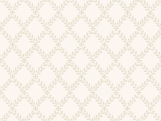 Обои из Швеции коллекция Falsterbo lll от Borastapeter. Рисунок под названием Trellis Leaves вьющийся растительный рисунок бежевого цвета на белом фоне. Обои в кухню, спальню, или коридор. Доставка обоев на дом, выбрать обои на кухню., Falsterbo III, Новинки, Обои для гостиной, Обои для кухни
