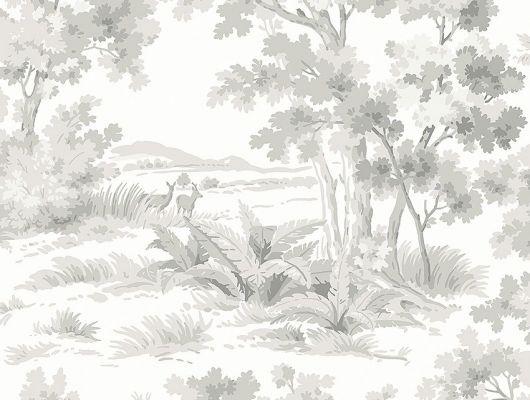Обои  из Швеции коллекция Falsterbo lll, с рисунком под названием Countryside Morning Утро в сельской местности изображен сельский пейзаж с молодыми оленями. Обои для кабинета, для гостиной. Шведские обои купить, салон обоев ОДизайн, в интернет-магазине, Falsterbo III, Обои для гостиной, Обои для кабинета, Обои для спальни