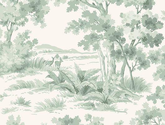 Обои  из Швеции коллекция Falsterbo lll, с рисунком под названием Countryside Morning Утро в сельской местности изображен сельский пейзаж с молодыми оленями. Обои для кабинета, для гостиной. Шведские обои купить, салон обоев ОДизайн, в интернет-магазине, Falsterbo III, Обои для гостиной, Обои для кабинета, Обои для спальни, Хиты продаж