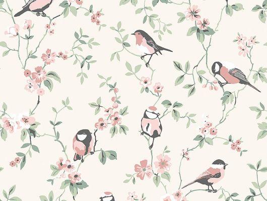 Обои из Швеции коллекция Falsterbo lll от Borastapeter. Розовые птички на зеленых ветках с цветочками на светло-бежевом фоне. Обои для детской, для гостиной, для спальни.  Интернет-магазин, онлайн оплата, большой выбор, Falsterbo III, Детские обои, Обои для гостиной, Обои для спальни