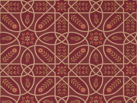 Продажа английских обоев для столовой арт. 216701 из коллекции Melsetter от Morris, Великобритания с геометрическим орнаментом бежевого цвета на красном фоне в салоне Одизайн, бесплатная доставка, Melsetter, Бумажные обои, Обои для гостиной, Обои для кухни, Обои для спальни
